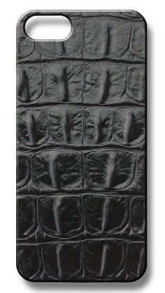 Black Embossed Croc Leather iPhone Case by #ValenzHandmade