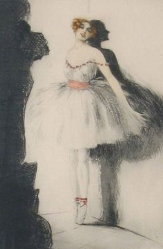 Louis Icart 'Ballerina In The Wings' 1925