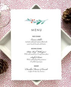 Menu Card  Holiday Party Menu Cards  by SideStreetDesigns on Etsy