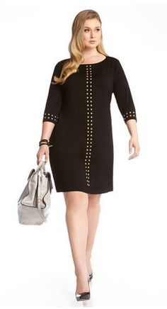 PLUS SIZE BLACK 3/4 SLEEVE GOLD STUDDED DRESS #Karen_Kane #Black_and_Gold #Studs  #Party #Dresses #Plus_Size_Dresses #Plus_Size_Party_Dresses