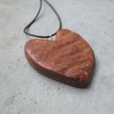 Love heart necklace   large wood jewelry   by NaturesArtMelbourne,