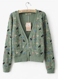 Green Cartoon V Neck Long Sleeve Sweatshirt$36.00
