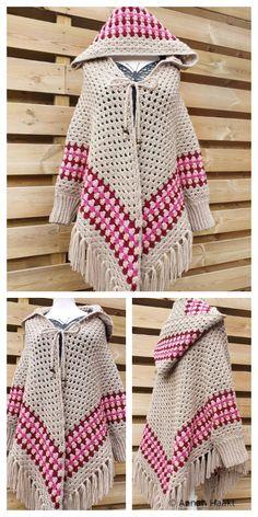 Poncho Au Crochet, Crochet Shawls And Wraps, Crochet Cardigan Pattern, Crochet Hats, Hooded Poncho Pattern, Blanket Crochet, Poncho Shawl, Kids Crochet, Booties Crochet