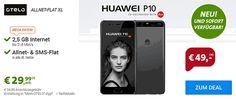 Günstiger Vertrag mit der Otelo Allnet Flat XL mit dem Huawei P10 mit Vertrag  für nur 49,00€ nur 6,67 € rechnerische monatliche Grundgebühr und erhalte dafür eine Allnet-Gesprächsflat in alle Netze , SMS-Flat ins dt. Mobilfunknetz und eine Internet-Flatrate 2,5GB bis 21,6 Mbit/s ,ab 2500 MB Drosselung auf GPRS-Geschwindigkeit der Vertrag wird im D-Netz.   #Huawei P10 mit Vertrag