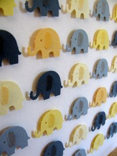 Yellow and Gray Baby Elephants - 3D Whimsy Collage - 8x8 - MADE to ORDER. $32 USD, via Etsy.