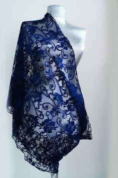 Summer Lace Scarf - Navy Blue Midnight Blue