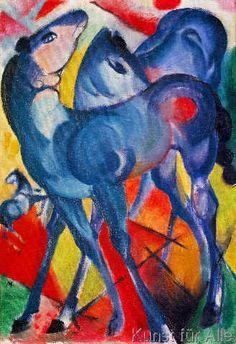 Franz Marc - Die blauen Fohlen (47,0 x 69,0 cm)