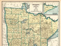 1940 Antique Large MINNESOTA State Map Vintage Map of Minnesota Gallery Wall Art Housewarming Gift For Anniversary Birthday Wedding 11598 by plaindealing on Etsy