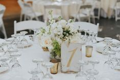 Centerpiece - White - Blush - Gold table numbers - White gold wood written numbers - Gold mercury votives - Roses - Stock - Design by DBCreativity.com - Calamigos Ranch Birchwood Room