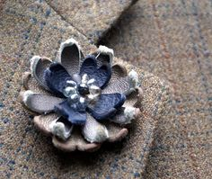 Blue and gray leather flower lapel pin with glass seed center, NEW Reversible Mag Tak by ModernRenaissanceMan, $20.00