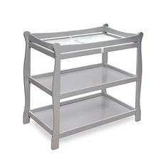 Badger Basket Sleigh Style Baby Changing Table, Grey