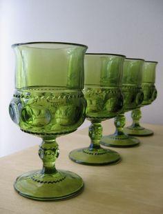 emerald green goblets, kings crown indiana thumbprint glass. $24.00, via Etsy.
