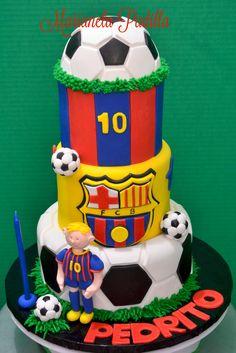 Barcelona soccer team's cake. Pedrito is a Messi fan.