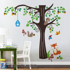 Wandtattoo Wandsticker Spielzimmer Kinderzimmer Baum Wald Tiere Groß XXXL FWT04C