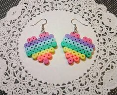 RAINBOW HEART Perler Bead EARRINGS