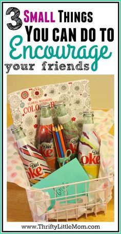 3 Small Things You Can Do To Encourage Your Friends. #ad This post provides you with 3 different ideas for simple and thrifty things you can do for a friend to brighten their day.  It even has a coloring book for adults gift basket tutorial!  #MyUnique4 #CollectiveBias