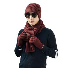 89d3e96b423 3PCS Men Warm Knitting Hat Scarf  Touch Screen Gloves Sets Fashion Winter  Warmer Knitted