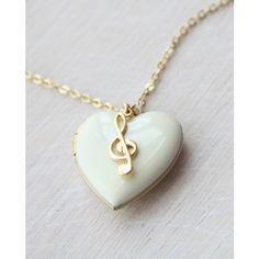 Musical White Enamelled Heart Locket Charm Necklace. Someone who love Music. Gift for Her. Keepsake Necklace.
