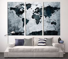 Large Art Canvas Print Grunge World Map on by ExtraLargeWallArt