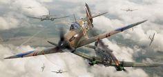 Supermarine Spitfire Mk1 Airfix box artwork by Adam Tooby - Spitfire Mk1 X4425 flown by Flt