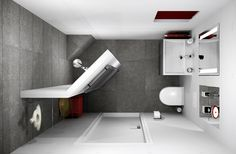 Small bathroom 153x238cm in 3D design.