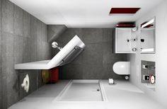 Small bathroom 153x238cm in 3D design.