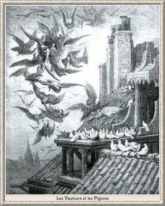 """Gravure:  fable de la fontaine - illustration de Gustave Doré - """"Les vautours et les Pigeons""""."""