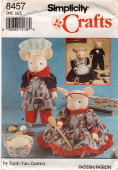 Simplicity 8457  Chef Butler and Maid Designer Pig and Pig Doll clothes sewing pattern designer faith van zanten by mbchills