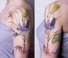 Wild flower tattoo by Amanda Wachob #tattoo- I would prefer a purple coneflower in place of the large flower, and a praying mantis in place of the caterpillar