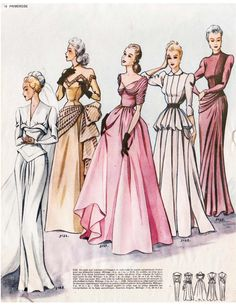 Classic French Journal Primrose Trend & Stitching That includes Bridal Robes - On the spot Obtain - Vintage Fashion Sketches, Fashion Design Sketches, Vintage Dress Patterns, Vintage Dresses, Vintage Outfits, 1940s Fashion, Fashion Sewing, Ladies Fashion, Fashion Vintage
