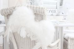 Angel Wings Chair Décor, Living Room. White, Chalk Painted. Chippy, Shabby Chic, Whitewashed, Cottage, French Country, Rustic, Swedish decor Idea.. ***Pinned by oldattic ***.