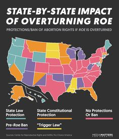 State-by-State Impact of Overturning Roe Protections/Ban of Abortion Rights if Roe is Overturned Sources: Center for Reproductive Rights and NARAL Pro-Choice America