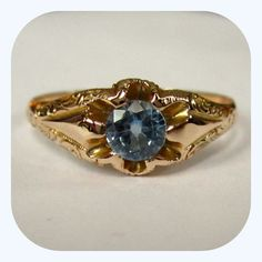 Victorian Gold Ring, 10K, Synthetic Aquamarine
