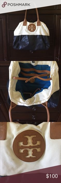 Tory Burch dipped Canvas Navy and cream Tote large Tory Burch dipped Canvas Navy and cream Tote large Tory Burch Bags Shoulder Bags
