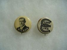 2 Woodrow Wilson Political Campaign Pin Badge Button No.12
