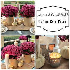 Fall Mums and candlelight on the back porch! Purple Mums and White and silver candles in a variety of candlesticks and mercury glass votives cast a glow over this Autumn Table