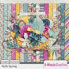 #FWP Spend $5 in my store and get this FREE.  Hello Spring by #AmandaCreation is soft and bold filled with blue and gold and splashed with bright pink.  It's beautiful and perfect for Spring.  #thestudio #digitalscrapbooking