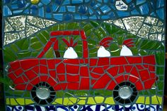 mosaic. Chickens in a truck...so cute!