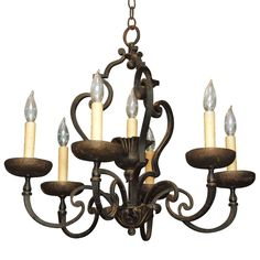 French Hand Forged Iron Chandelier