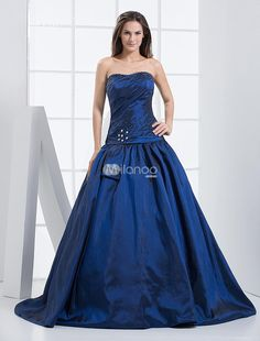 Royal Blue Strapless A-line Floor Length Taffeta Prom Dresses. Youll be the envy of the evening in this fabulous taffeta gown. It features a pretty wrapped texture on the bodice, which is strapless and trimmed along the bustline with silver sparkle beadwork. The same sparkle beadw.. . See More Strapless at http://www.ourgreatshop.com/Strapless-C937.aspx