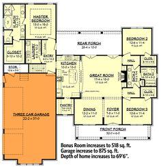 Budget Friendly Modern Farmhouse Plan with Bonus Room - 51762HZ | Architectural Designs - House Plans Barn Homes Floor Plans, Barndominium Floor Plans, Barn House Plans, New House Plans, House Floor Plans, Southern House Plans, Family House Plans, Southern Living, Family Homes