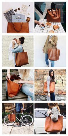 Handmade Women's Fashion Leather Tote Bag Shopper Bag Diaper Bag SQ02