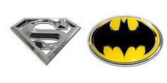 Superman 3D & Batman oval Emblem set DC Comic Real Chrome auto decal Self Stick