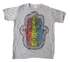 Hamsa Hand of Fatima Festival Yoga Boho Hippy Hippie Organic Cotton Eco T Shirt