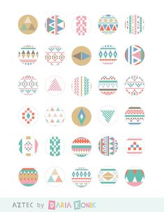 """Aztec Digital Collage Sheet with 1"""" Circular Images-for bottle caps, pendants, paper craft, tribal, instant download, jpeg, PDF on Etsy, $2.80"""