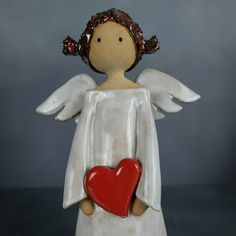Ceramic Angels, Ceramic Birds, Pottery Angels, Handmade Angels, Angel Decor, Christmas Crafts, Christmas Ornaments, Pottery Designs, Winter Holidays