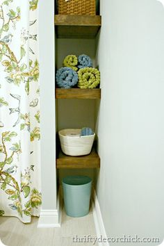 DIY floating shelves. Perfect way to add functional storage to a small space @Christy Polek Palmer Decor Chick