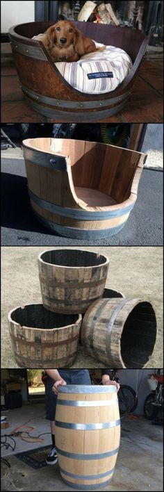 15 Amazing DIY Dog Bed Ideas including this Wine barrel dog bed by whitney