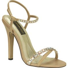 Tahiti is an elegant high heeled sandal with rhinestone details and an adjustable ankle strap.