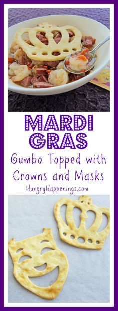 Whenever I think about New Orleans or Cajun food i immediately think of gumbo. If you're looking for a great gumbo recipe, look no further; try this delicious Mardi Gras Gumbo Topped with Crowns and Masks! Carnival Food, Mardi Gras Carnival, Mardi Gras Food, Mardi Gras Party, Louisiana Recipes, Cajun Recipes, New Orleans Mardi Gras, Best Party Food, Cajun Food